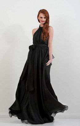 Black Chiffon Harlow Gown by Leiela