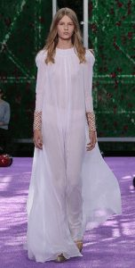Dior embroidered white silk chiffon dress.