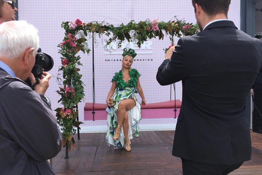 Ciny Carino wearing a designer dress Leiela
