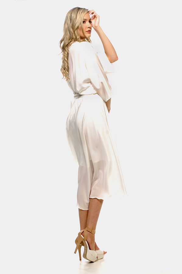 Bella wrap and slip set -Ivory silk crepe de chine back