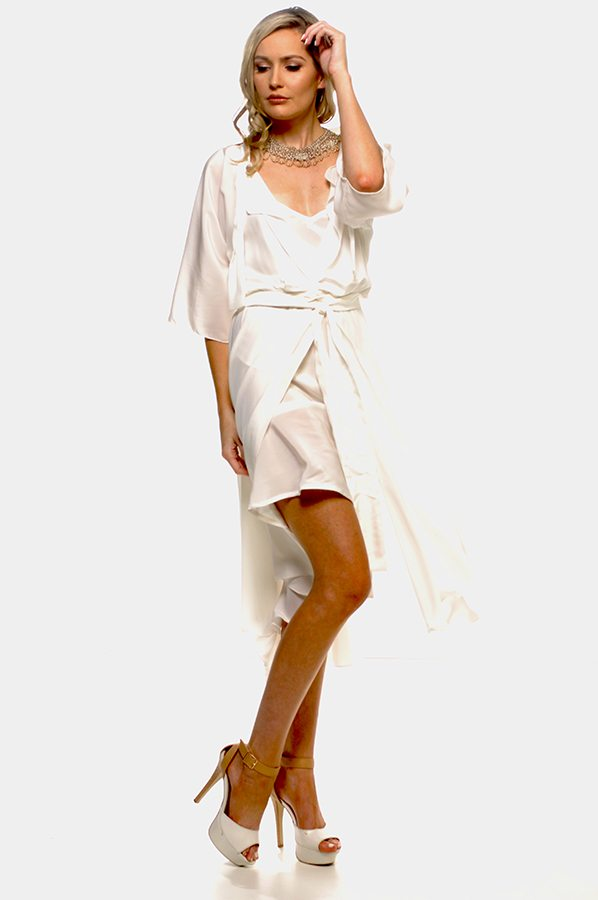 Bella wrapand slip set Ivory silk crepe de chine front