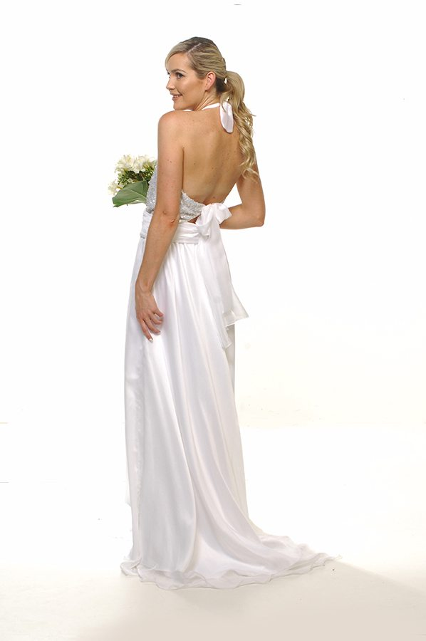 Harlow gown pearl bodice with white chiffon back
