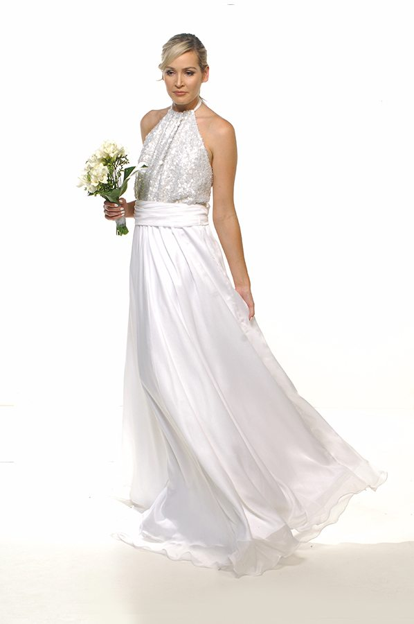 Harlow gown pearl bodice with white chiffon front