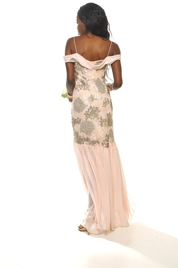 Rhiannah gown floral sequin with shell georgette back