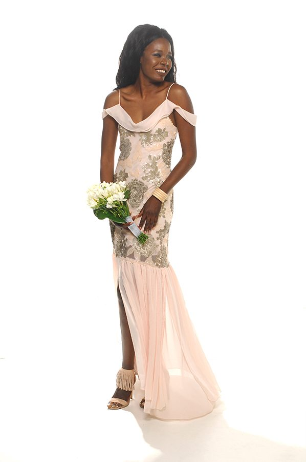 Rhiannah gown floral sequin with shell georgette front