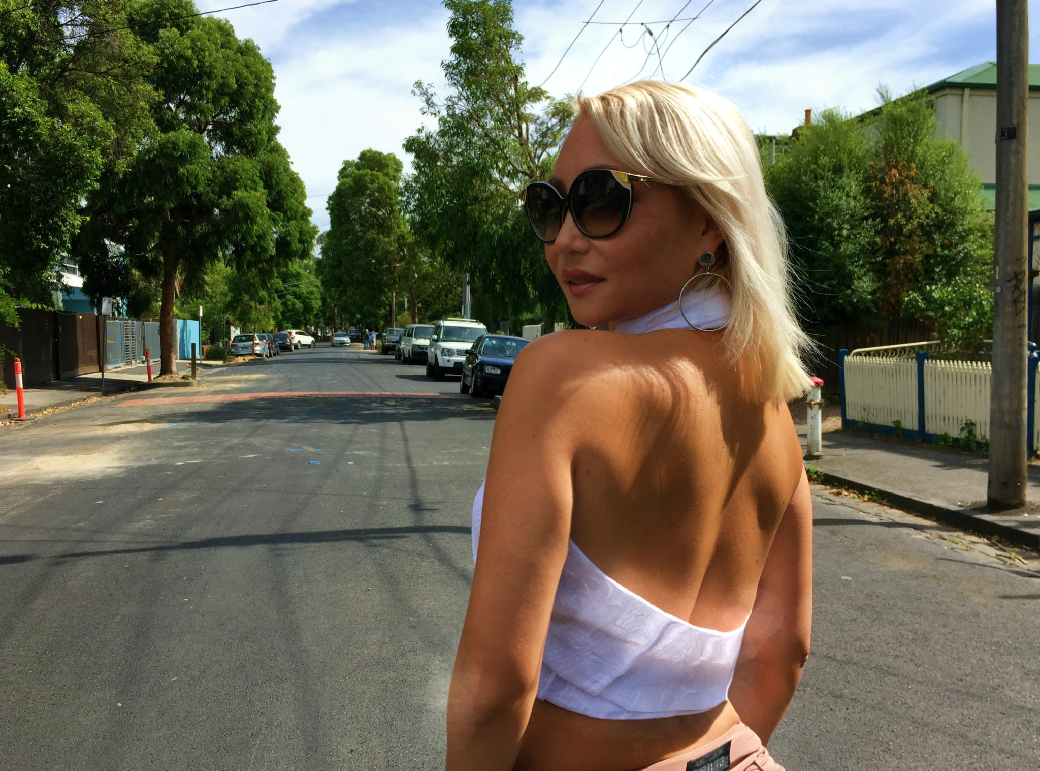 Model Cindy Carino in Melbournewearing a Lucy Laurita Roadtrip Wrap