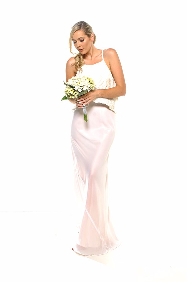 Taneel dress ivory sequin swirl with ivory georgette front