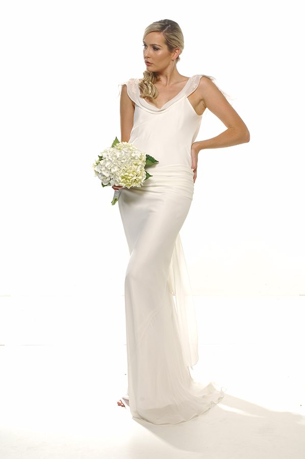Yvette gown ivory georgette with applique front