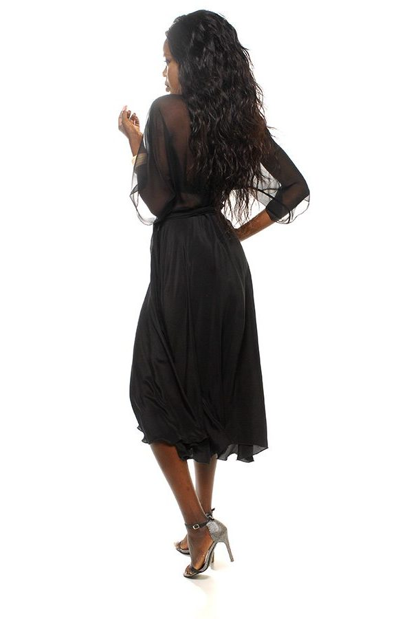 Bella Wrap dress black silk georgette bodice with black silk crepe de chine skirt