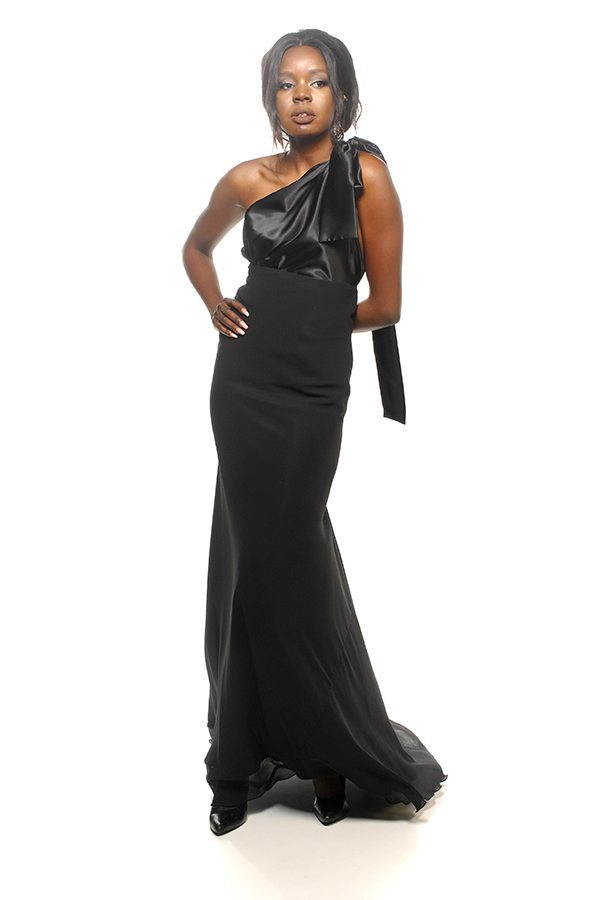 Caprice dress black satin bodice with black georgette skirt front