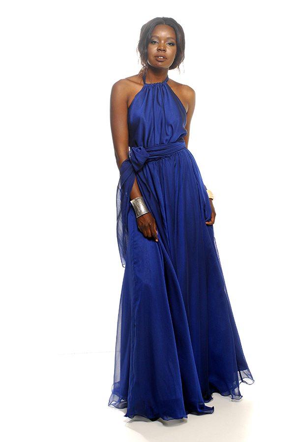 Harolw dress sapphire chiffon front