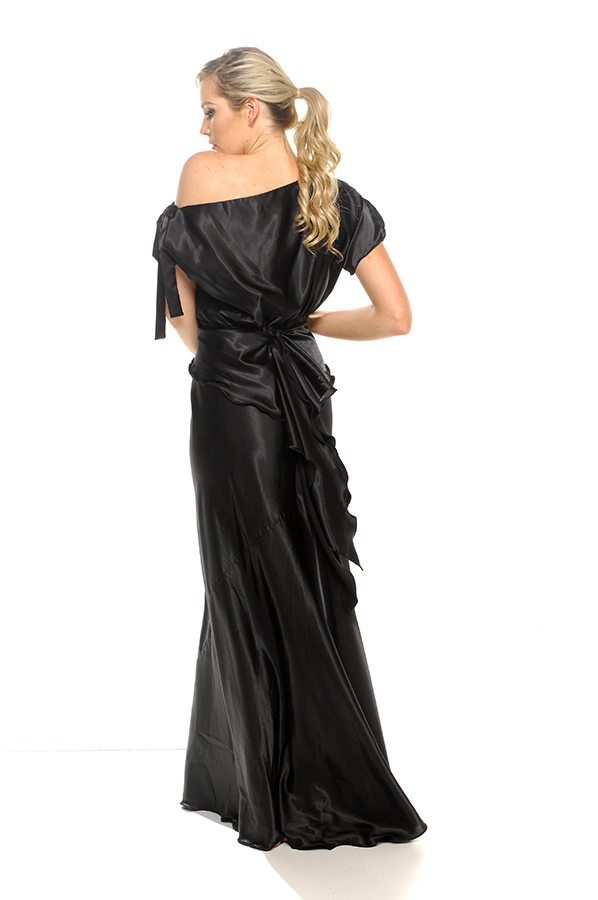 Serena dress black satin back