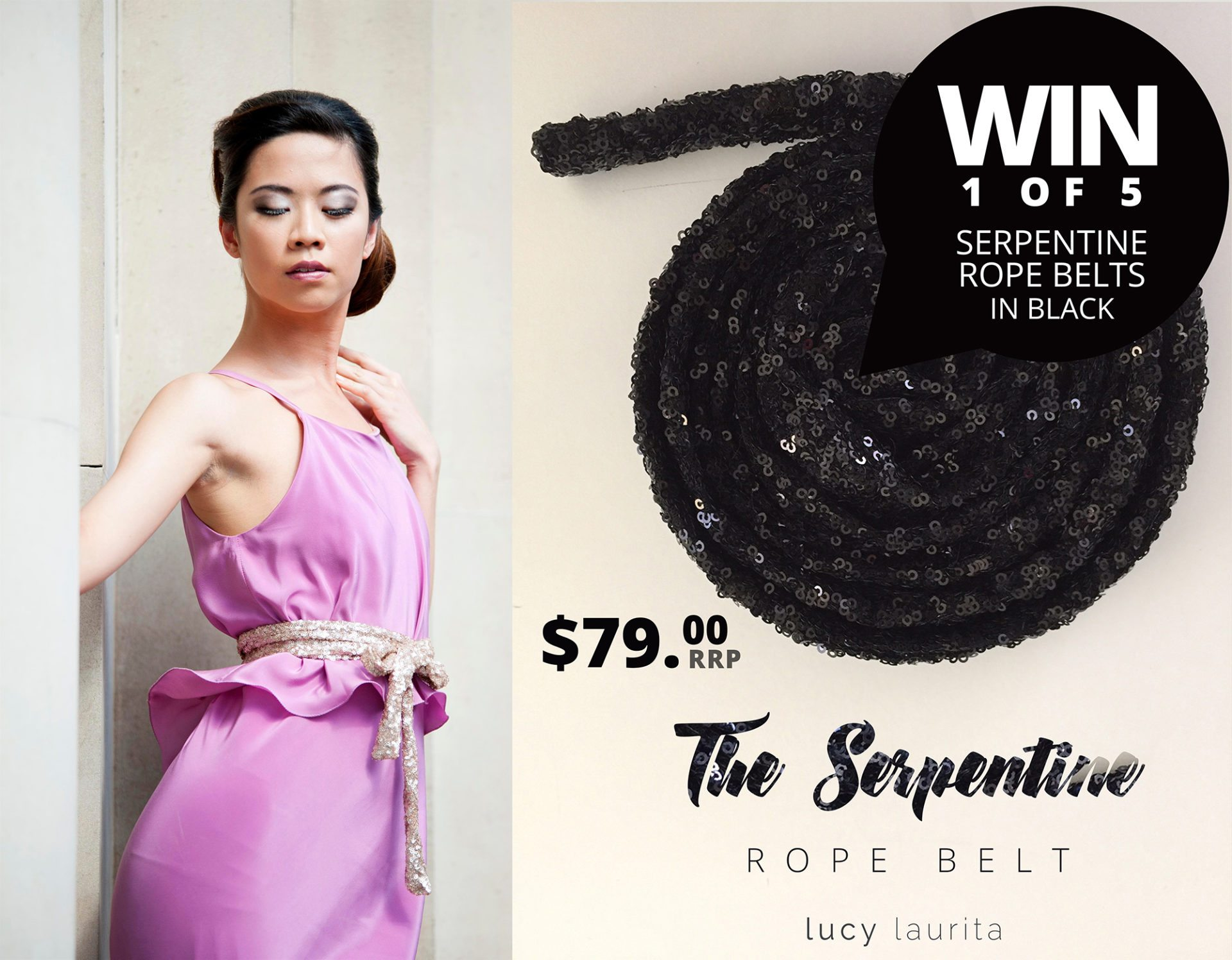 ​5 days To Win 1 of 5 Black Serpentine Belts