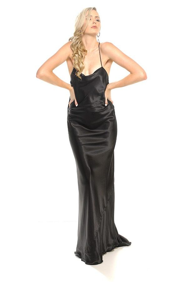 Sienna dress black satin
