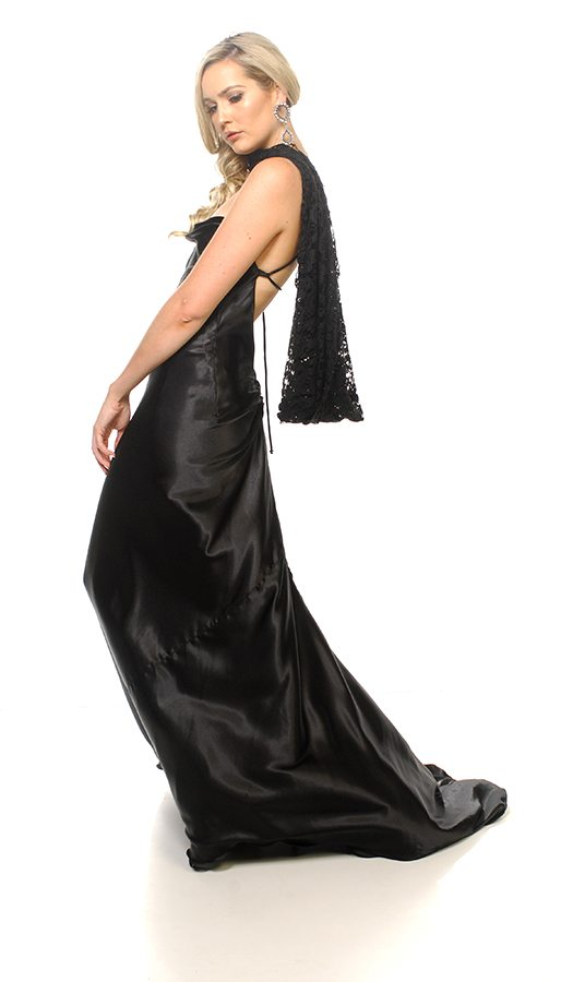 Sienna dress black satin with black lace Willow neck and shoulder wrap