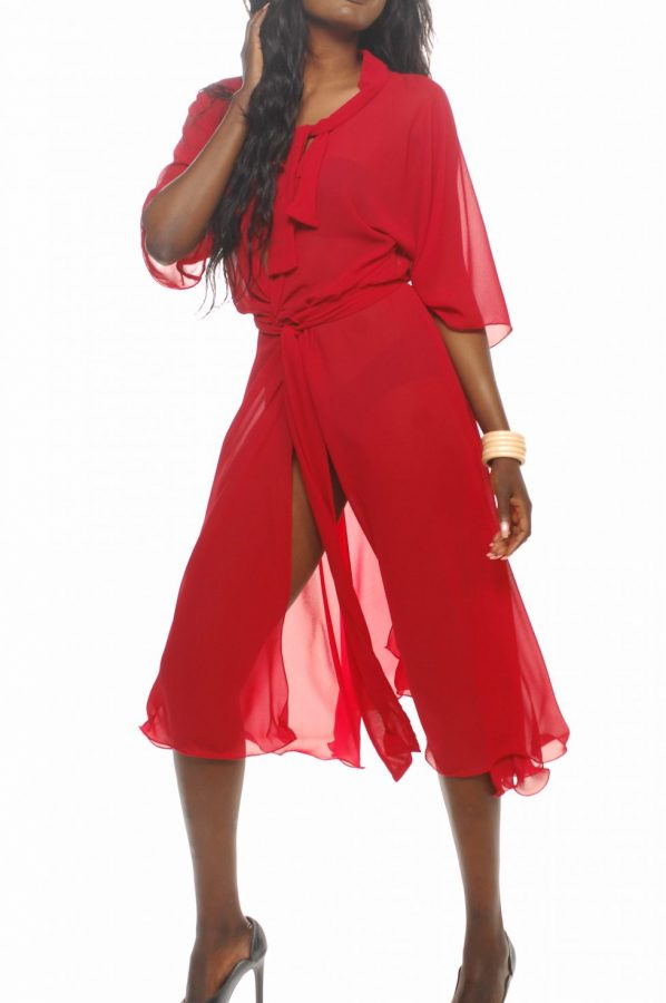 Bella wrap red georgette