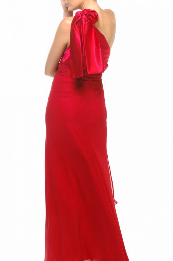 Chelsea dress red satin with red georgette back