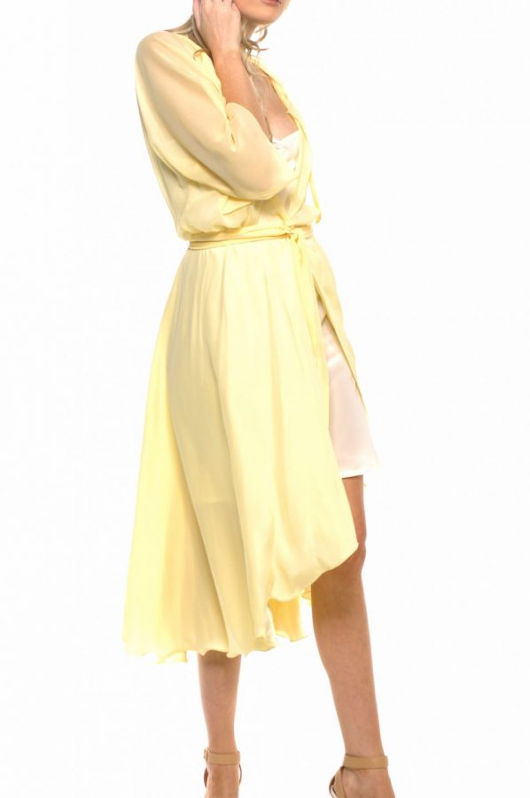Bella wrap and slip set Lemon silk with Ivory silk slip