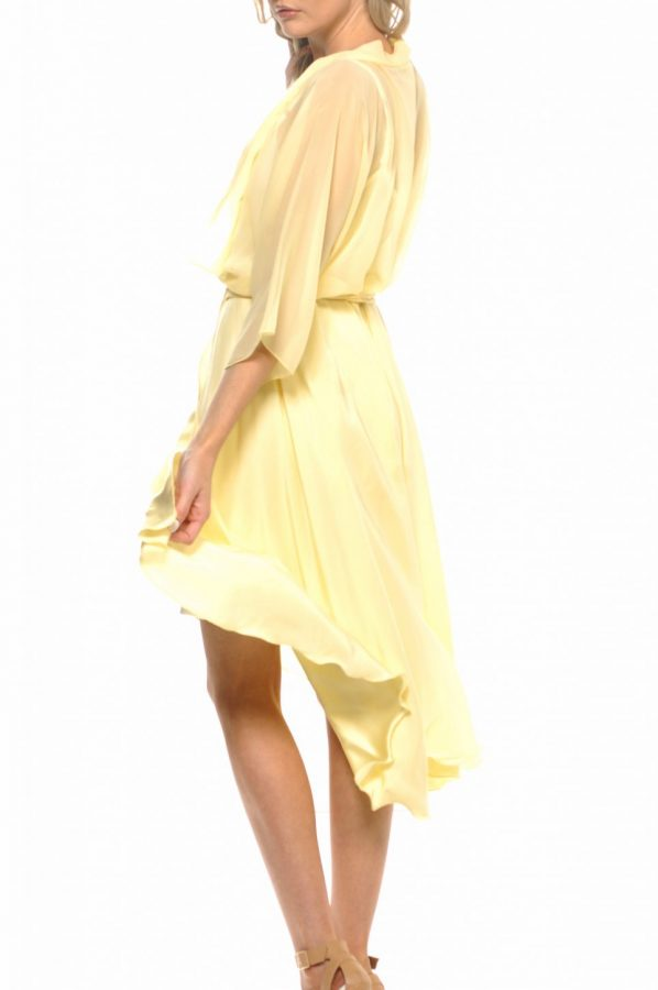 Bella wrap and slip set Lemon silk with Ivory silk slip back