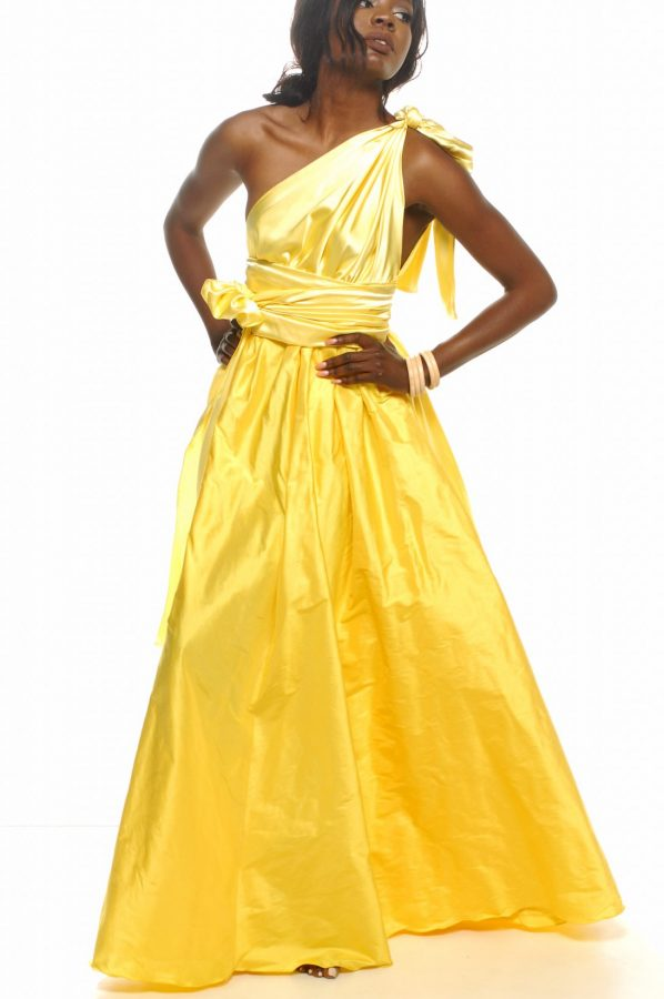Jacinta dress lemon satin with lemon dupion silk