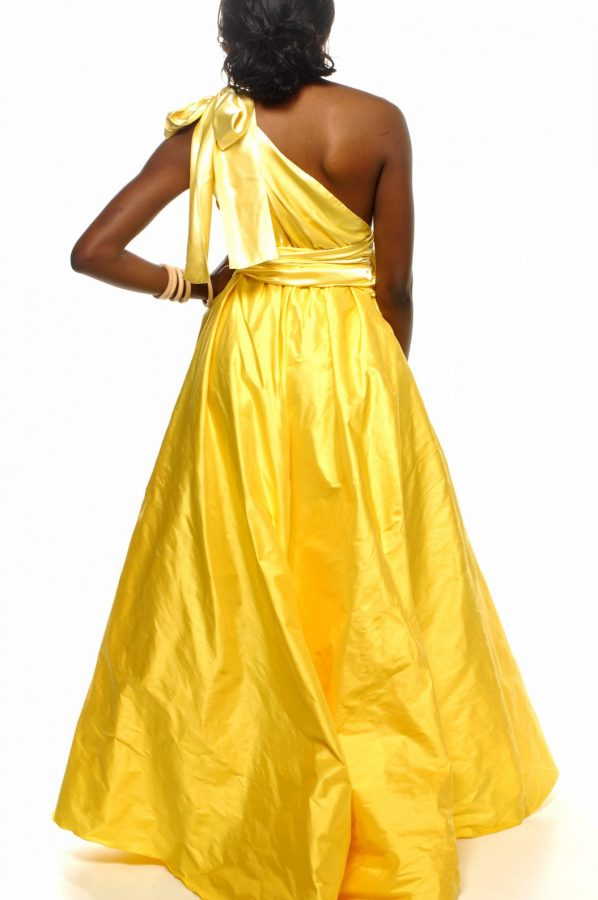 Jacinta dress lemon satin with lemon dupion silk back