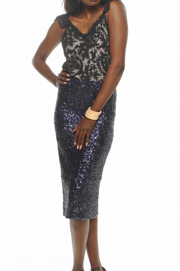 Lilly lace cami with navy stretch sequin pencil skirt