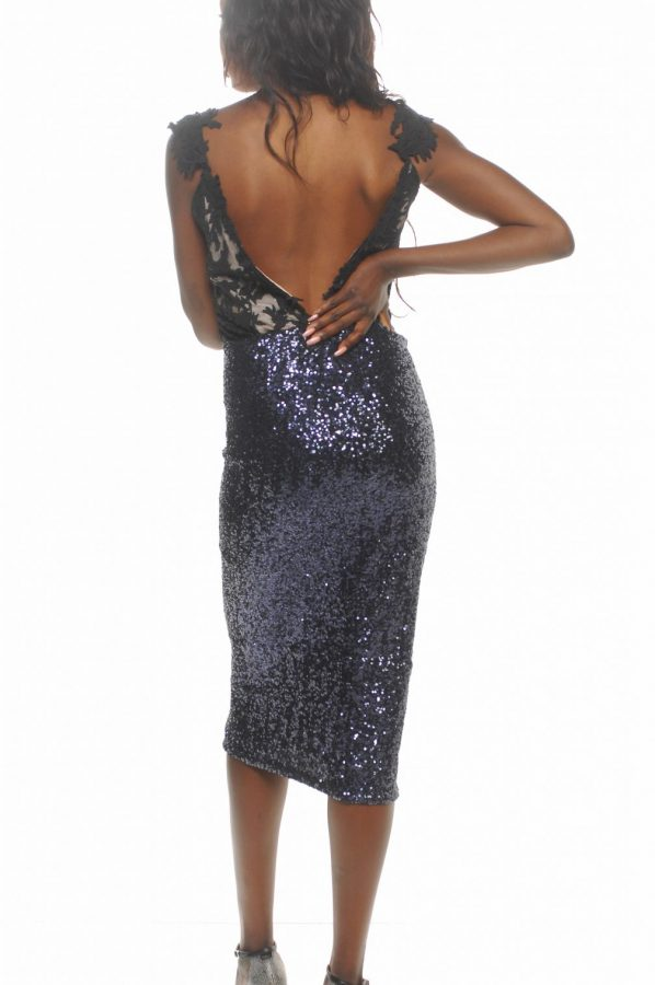 Lilly lace cami with navy stretch sequin pencil skirt back