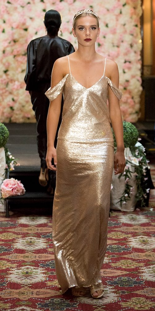 Model wears Anais Gown in Gold Sequin at the VAMFF offsite - Australian Fashion Connect