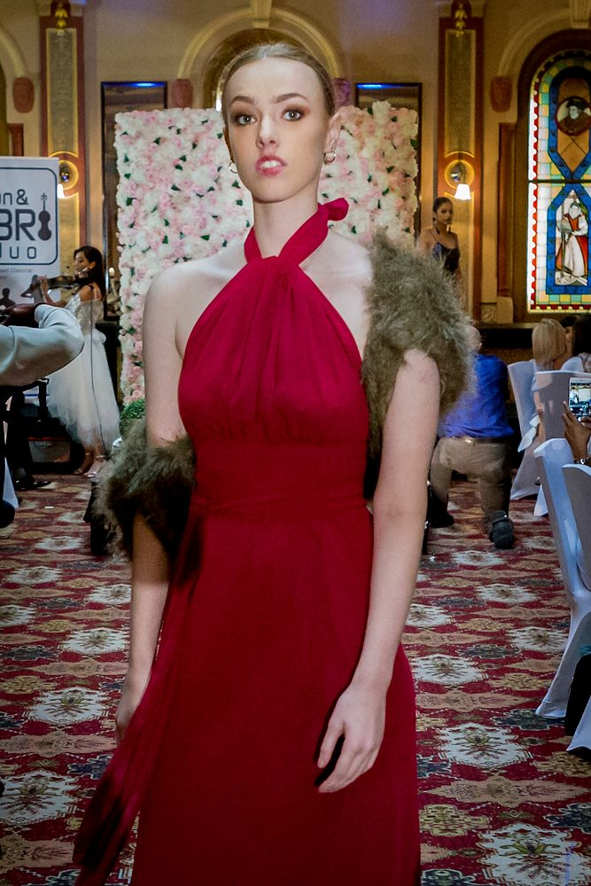Cameo Dress by Lucy Laurita with Garnet georgette and faux fur image