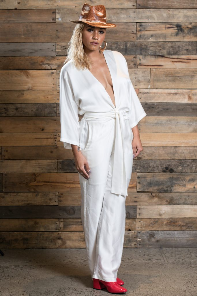 Samantha Johnson in the white jumpsuit by lucy laurita