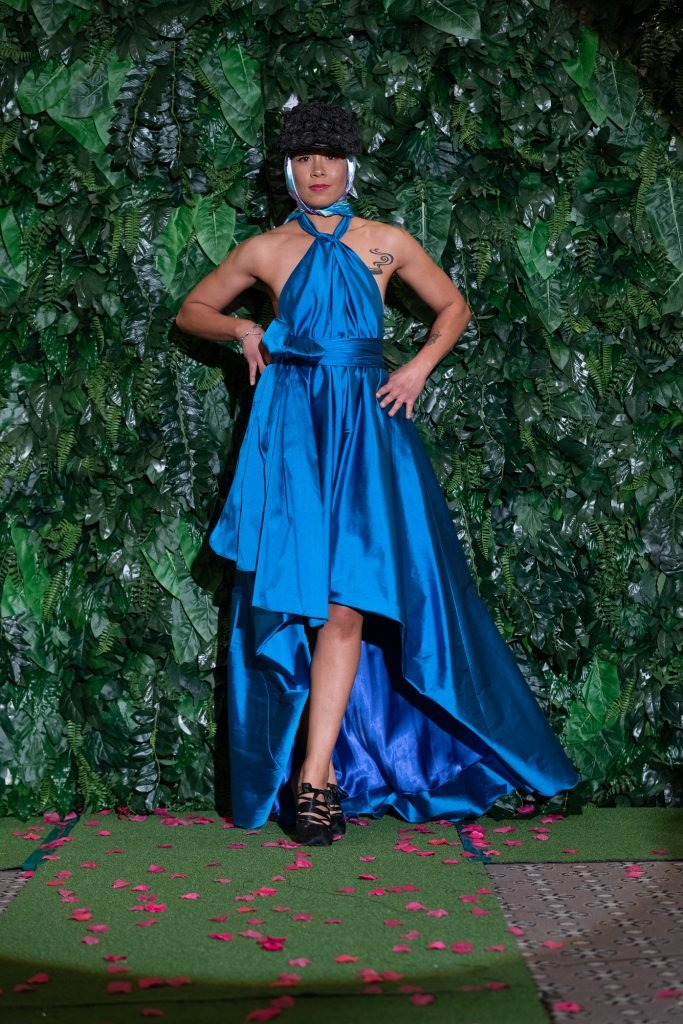 Lucy Laurita Cameo Bubble Gown in Ocean Tafetta