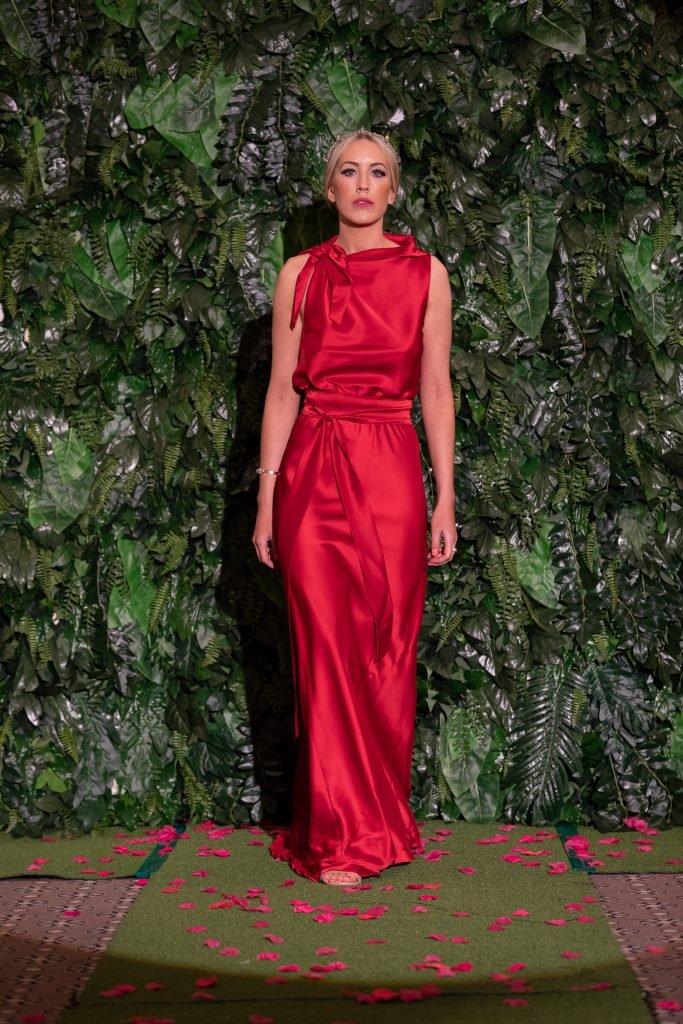 Lucy Laurita Chiara Dress in red satin