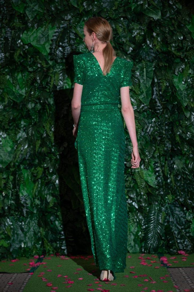 Lucy Laurita Viva Gown in Emerald sequin l
