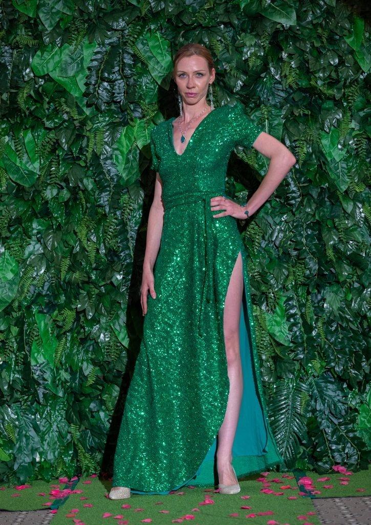 Lucy Laurita Viva Gown in Emerald sequin
