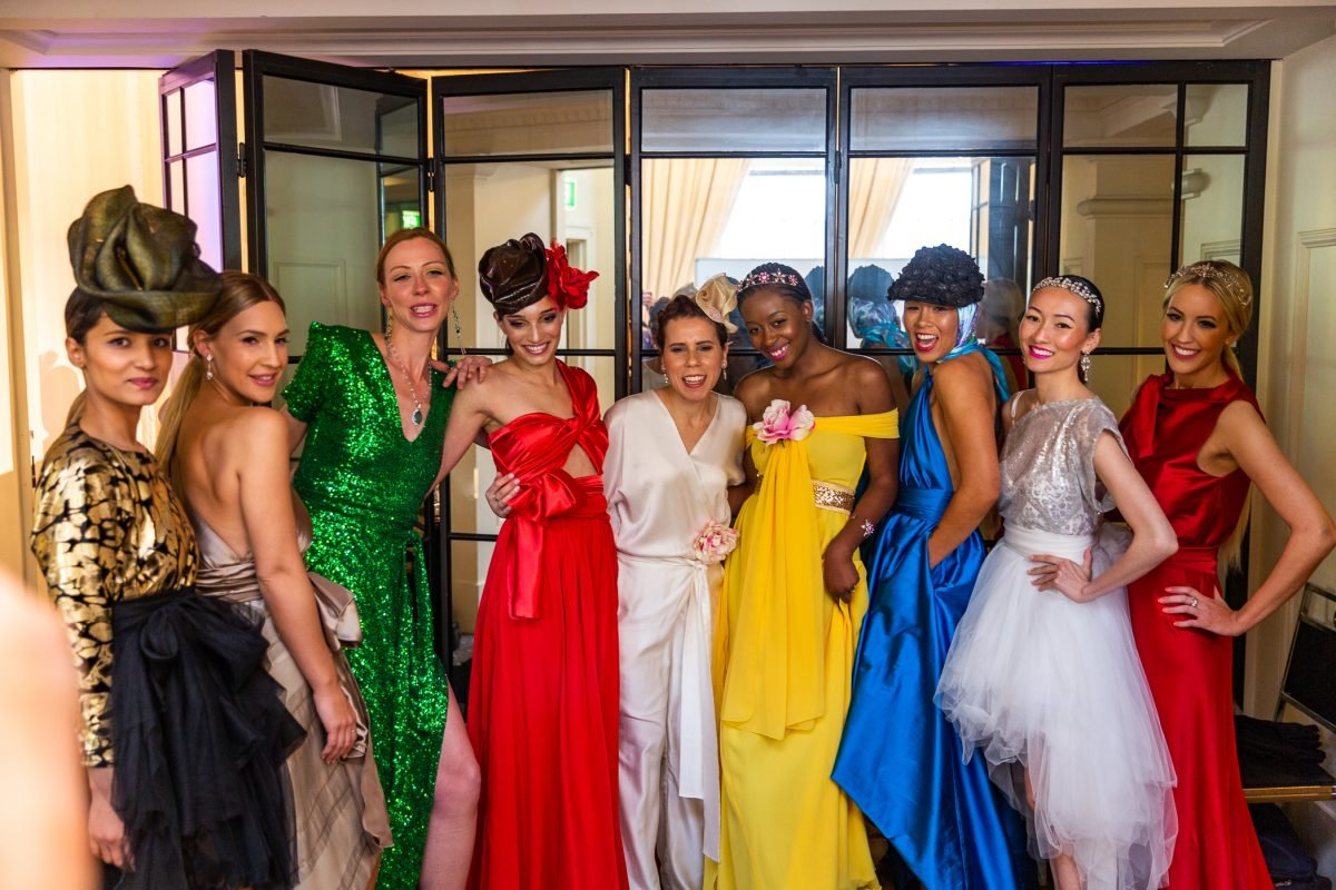 Lucy Laurita with models releif after the runway