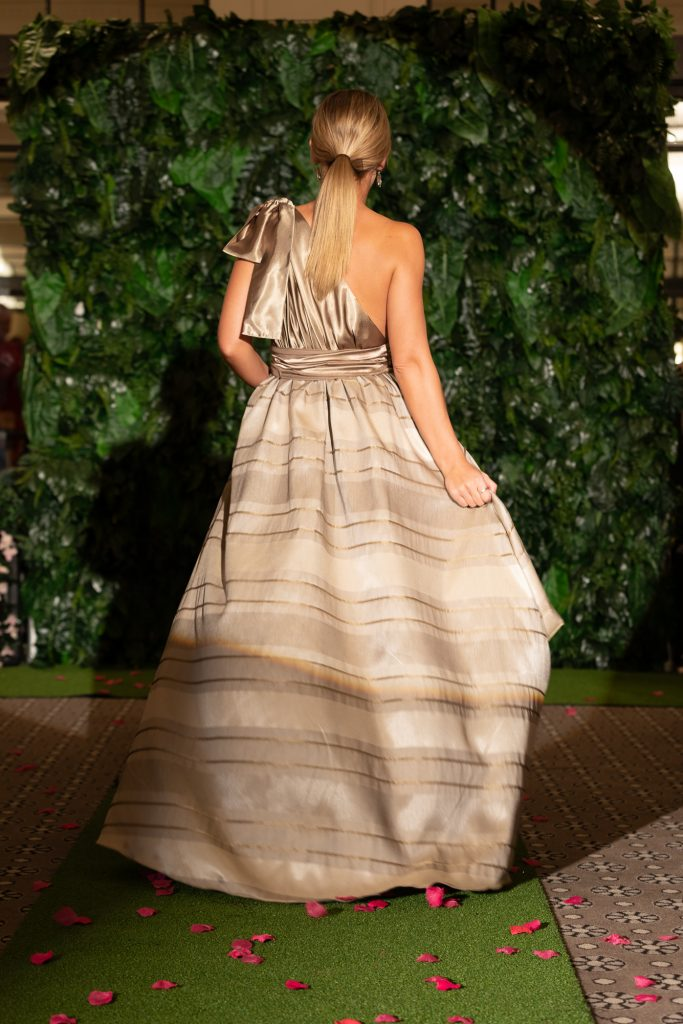 Lucy laurita Jacinta Bubble gown in Gold stripe ll