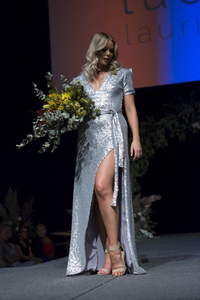 fashion dessigner wedding gown in silver