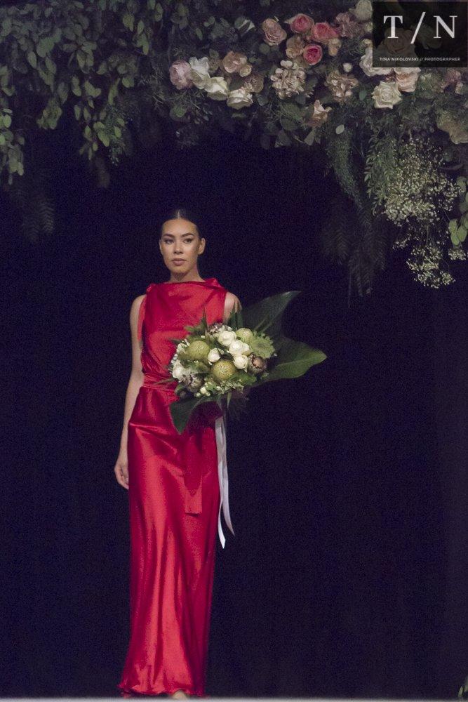 red dress t the Canberra Wedding fair