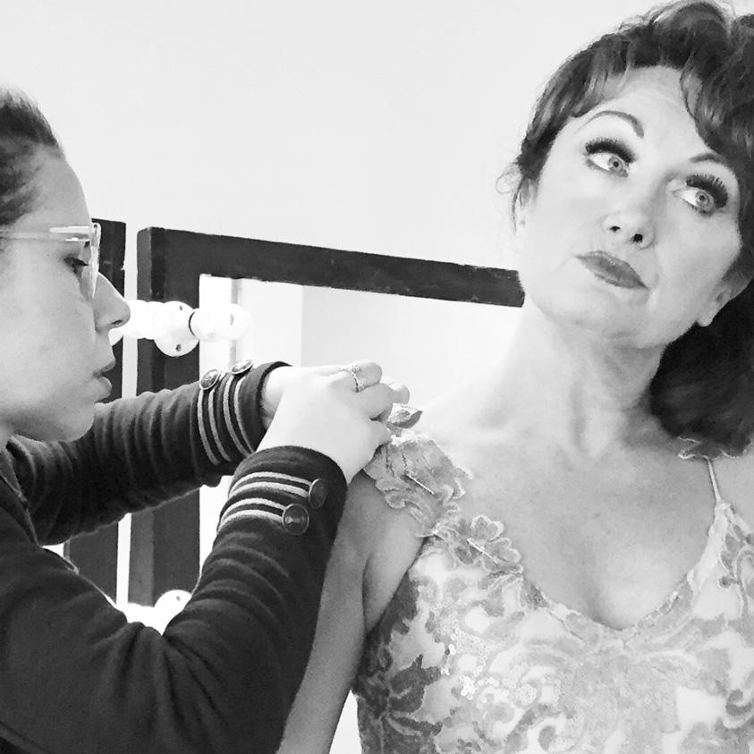 Dress fitting with Caroline OConnor