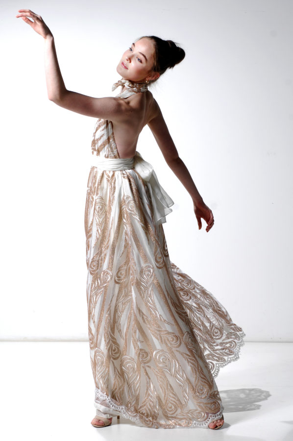 Aria Gown Gold and Ivory stripe Lace
