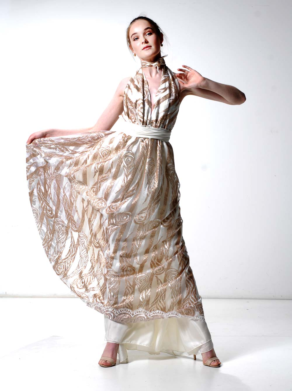 Aria gown gold and ivory lace