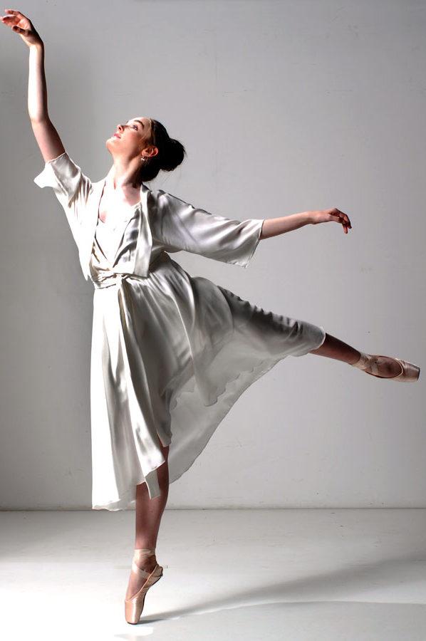 Bella Wrap Dress Ivory Silk Crepe De Chine with silk underslip
