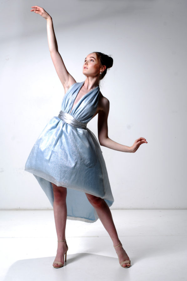 Cameo Bubble Gown Silver Lurex Mesh Ice Blue Lining