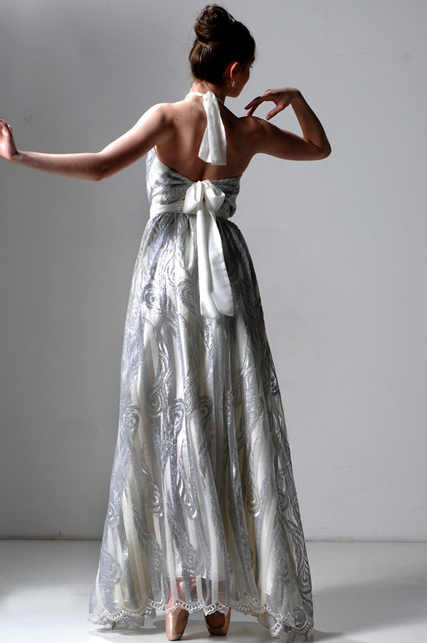 Heidi Gown Silver and Ivory stripe Lace