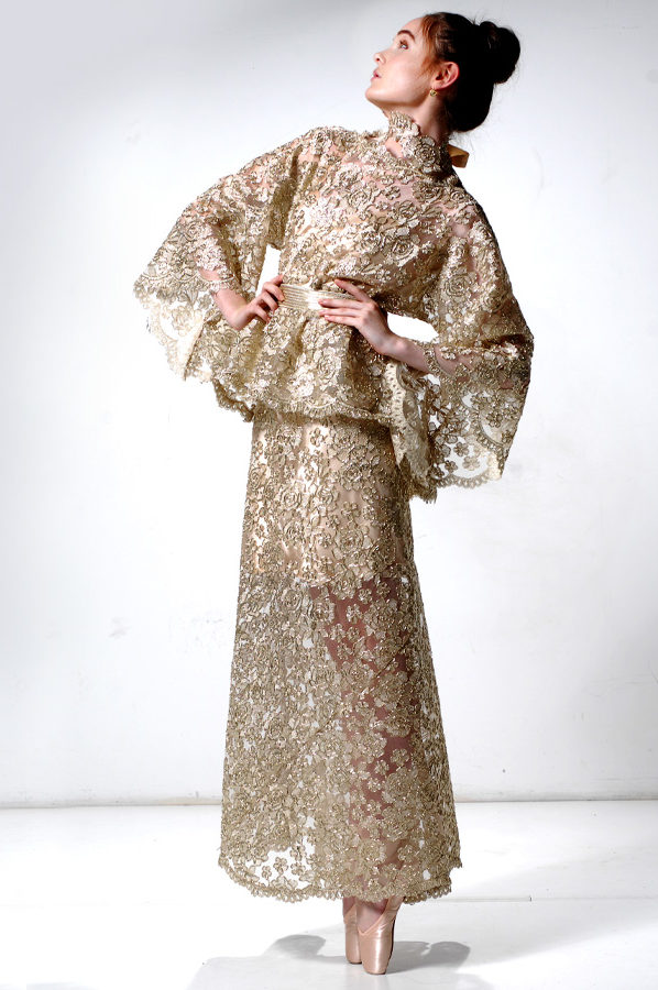 Top and Skirt Gold Lace with satin underslip
