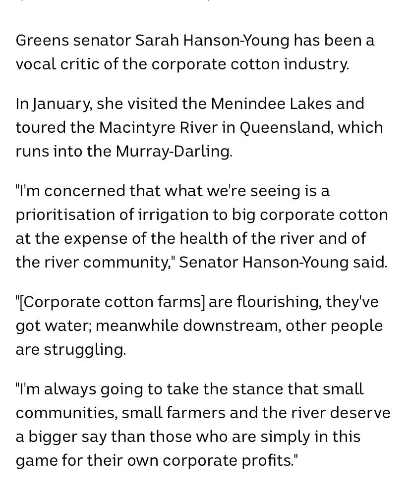 Greens senator Sarah Hanson makes a stand against cotton farming at the expense of other industries