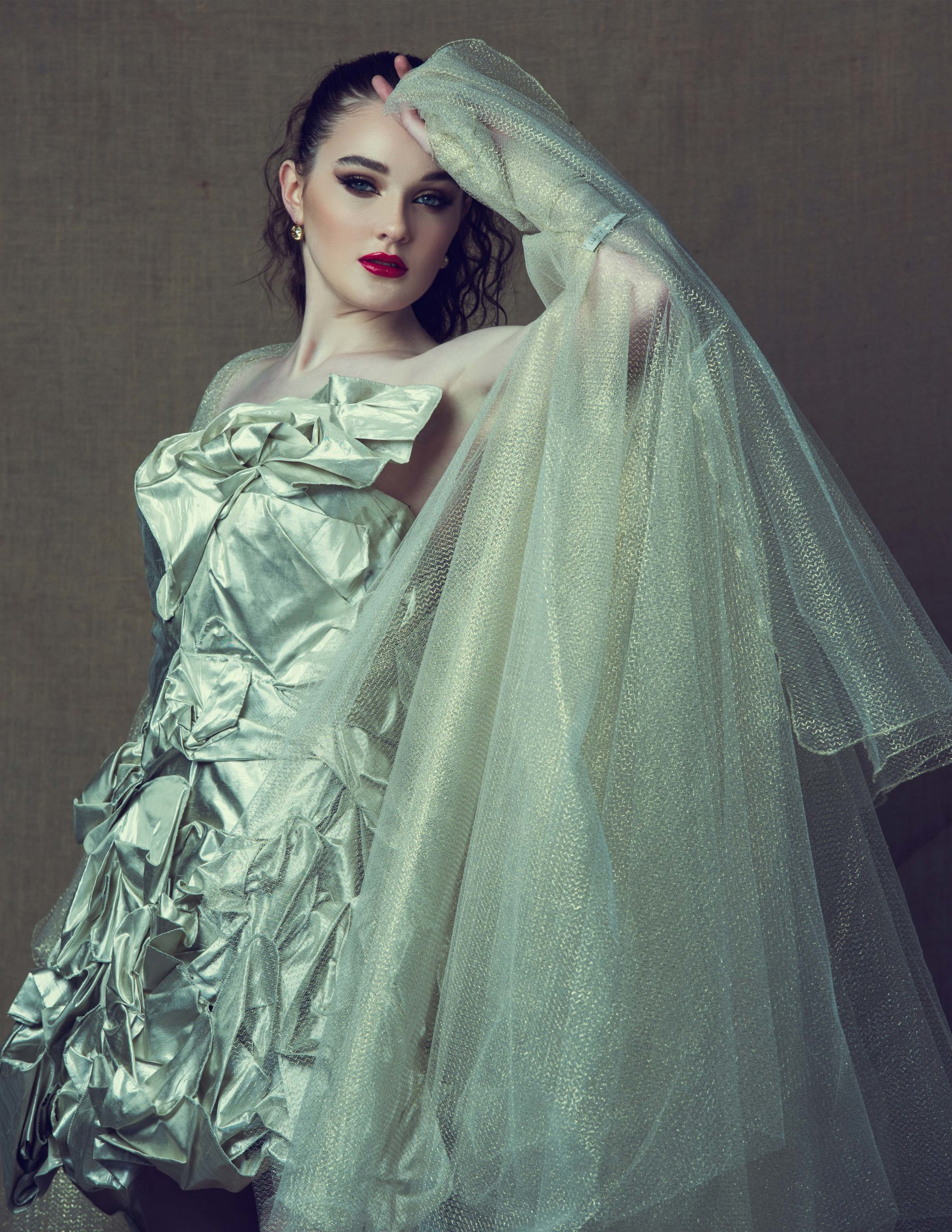 The Sustainability project: floral wonderland dress in silver