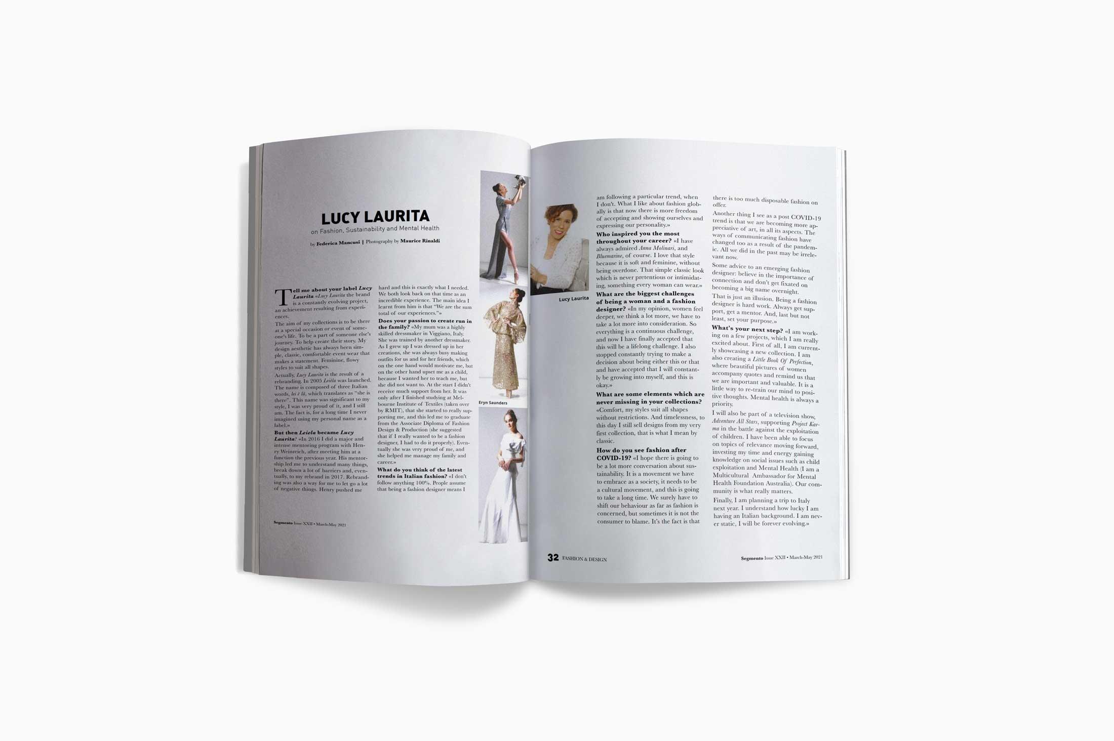 Article on Lucy Laurita in Segmento Magazine